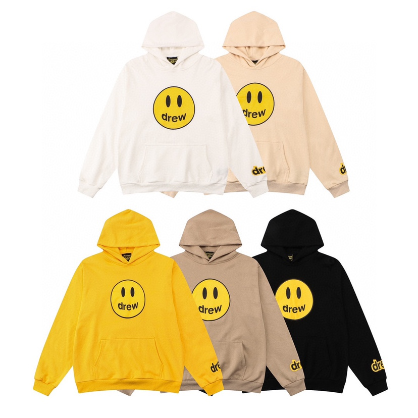 Drew lettered printed smiley face sweater Bieber couple Hoodie fog trendy ins Pullover crew neck loose