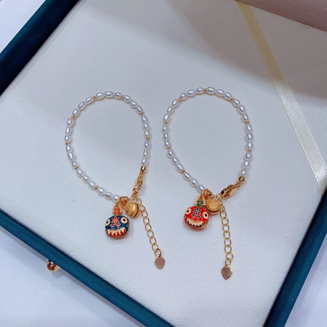 Gold devourer Bracelet full body Sterling Silver pure handmade ancient method burning blue natural rice beads freshwater pearl bracelet to attract wealth