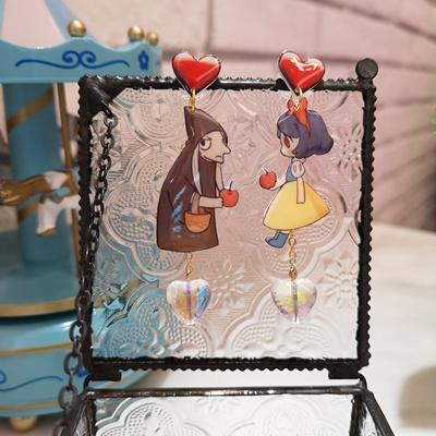 韩国原创白雪公主老巫婆童趣宝石爱心流苏ins网红耳夹防过敏耳环