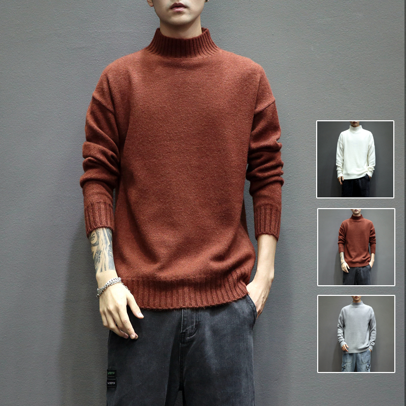 Z5127_P45 日系灰墙~春季新品 男士立领纯色修身大码毛衣 咖啡