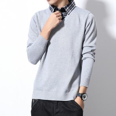 Z5110_P45~<em>白墙</em>风~男士格子衬衫领假两件毛衣 大码针织衫打底衫