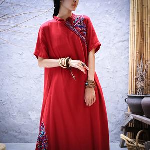 民族风刺绣红色短袖旗袍式棉麻连衣裙中国风改良版汉服袍子女