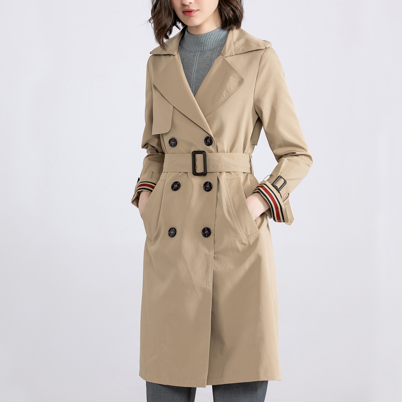 Fall / winter 2019 new classic double breasted over the knee long jacket Khaki cuffs ribbon stitching windbreaker