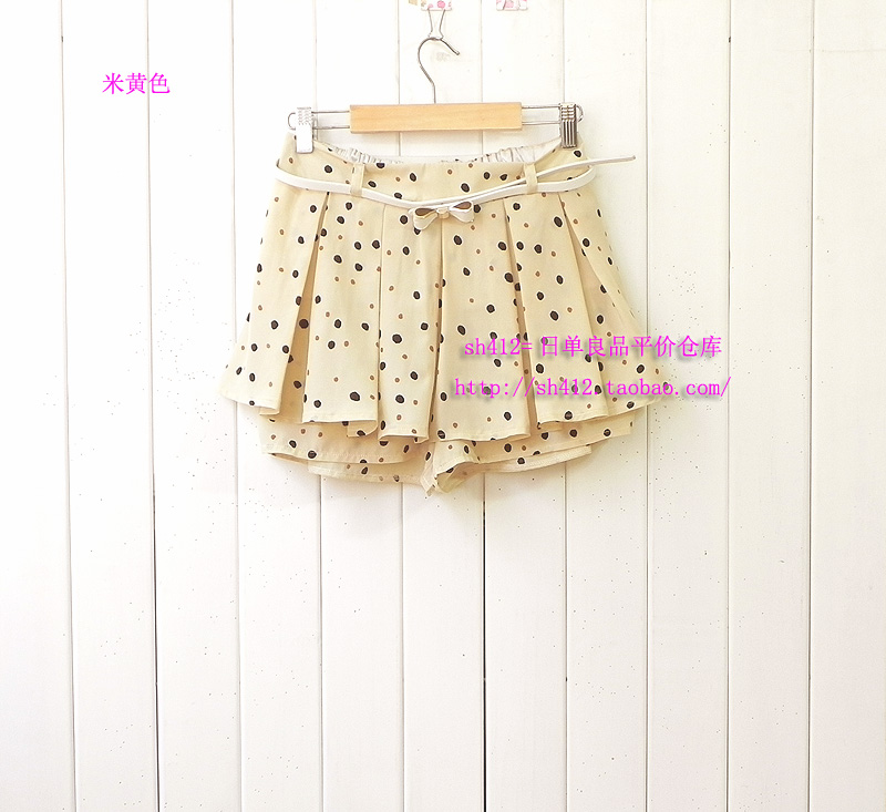 Super value package mail, sweet water and ink wave dot dot short skirt pants with lotus lace elegant pleated skirt with belt shorts
