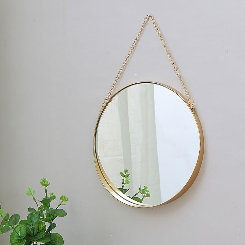 简约幼儿园壁挂梳妆镜子浴室镜北欧铁艺圆形金色镜子美容院床头镜图片