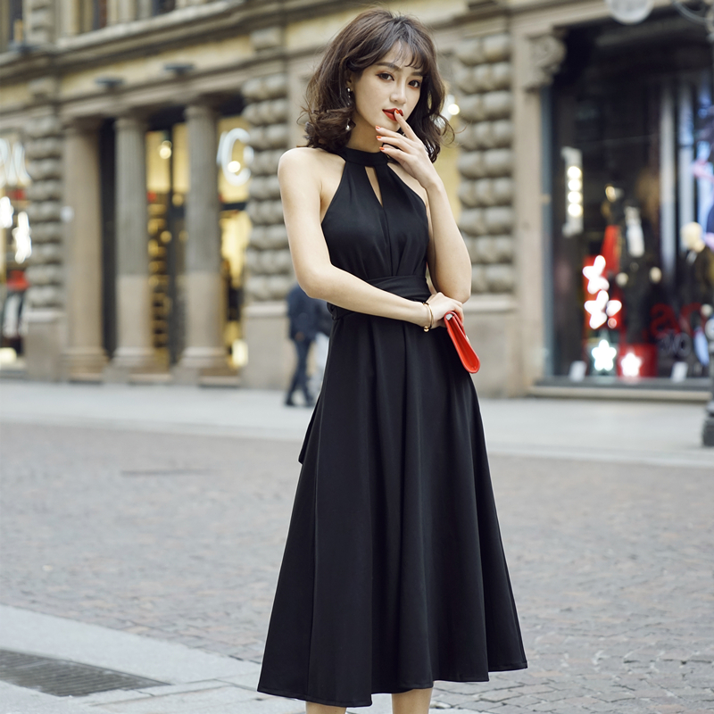 Sexy summers new long skirt with neck and black hollow out bottom skirt with off shoulder and off back slim dress