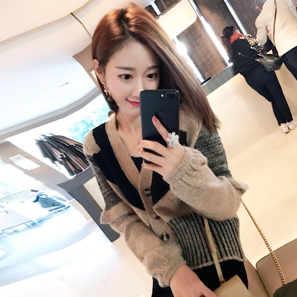 小番茄定制秋季韩版拼接灯笼袖开衫百搭显瘦针织衫气质毛衣短外套