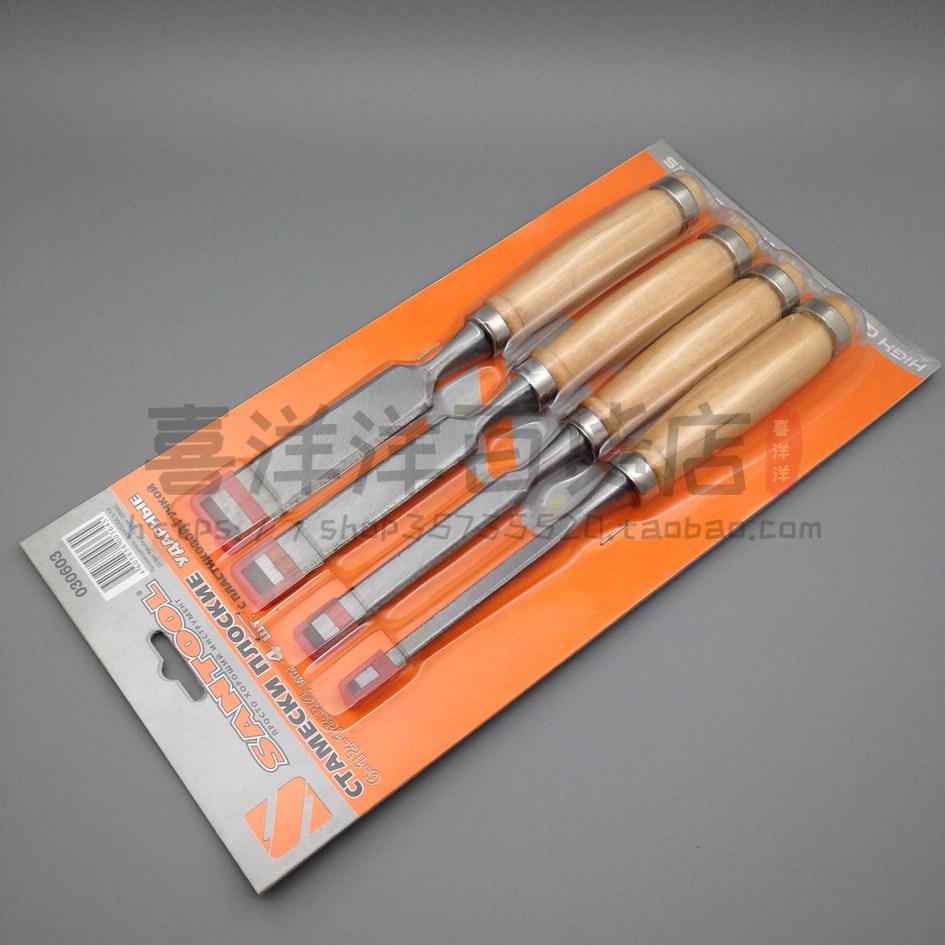 [4支] комплект [木柄木工凿子 雕刻凿木工工具扁铲木] дверь установка [木凿 平口半圆]