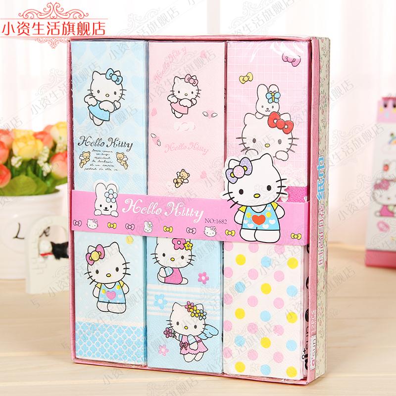 Мультики KT кот бумажные полотенца милый цвет печать тряпка для мытья посуды бумага первобытный пульпа носовой платок бумага 12 пакет подарок еда полотенце бумага
