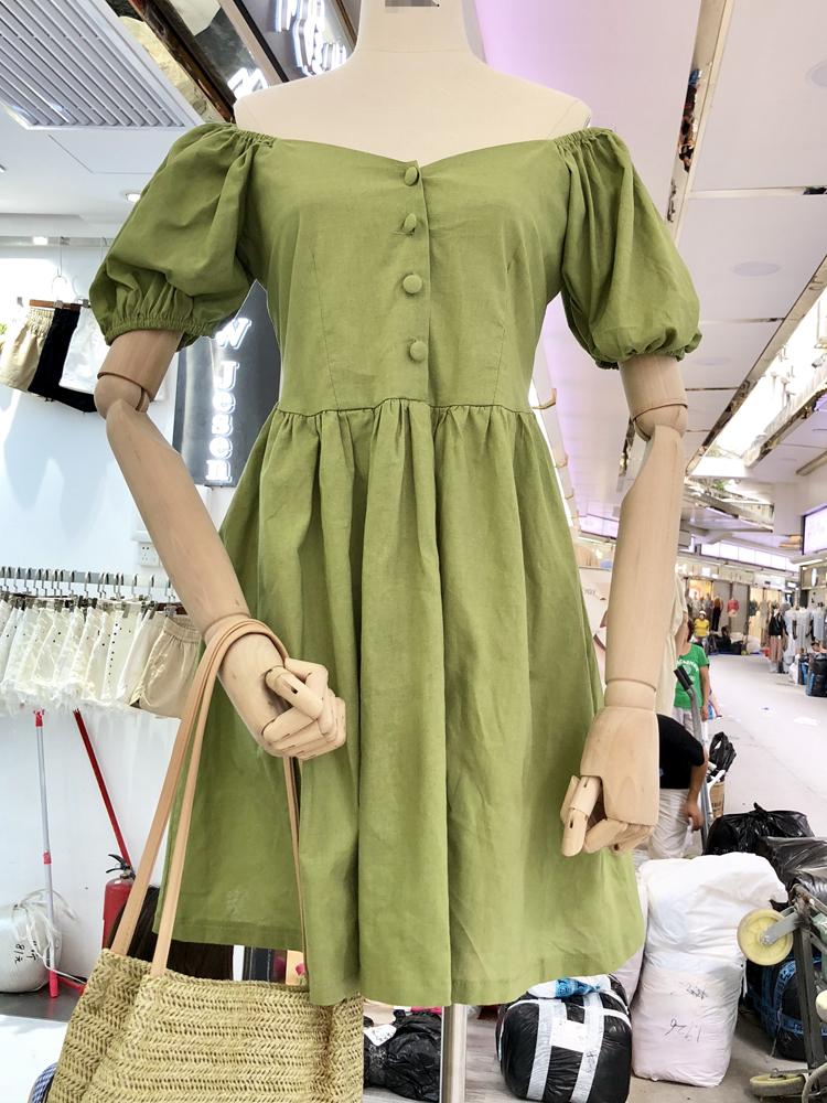 2018夏装新款韩版复古气质简约高腰显瘦泡泡袖麻料娃娃连衣裙女装