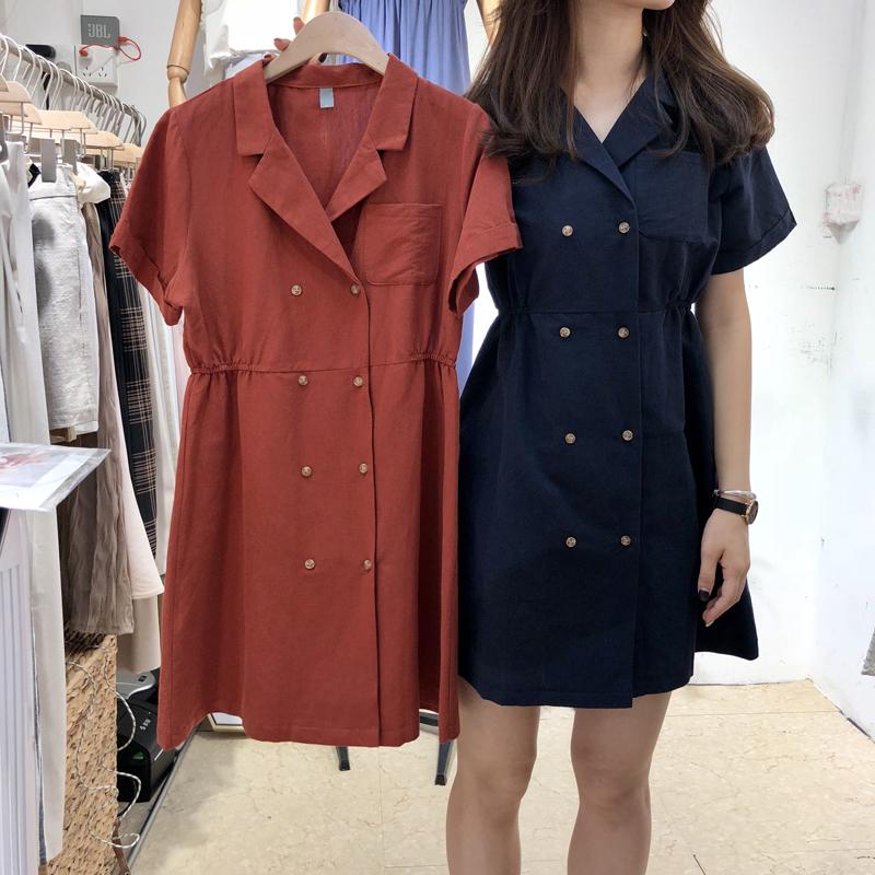2018夏装新款韩版女装纯色双排扣西装V领短袖收腰显瘦麻料连衣裙