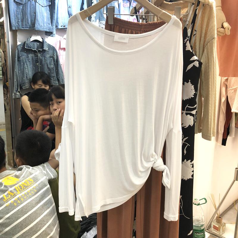 慵懒上衣女2020新款夏韩版大版宽松显瘦纯白色长袖T恤薄款防晒衫