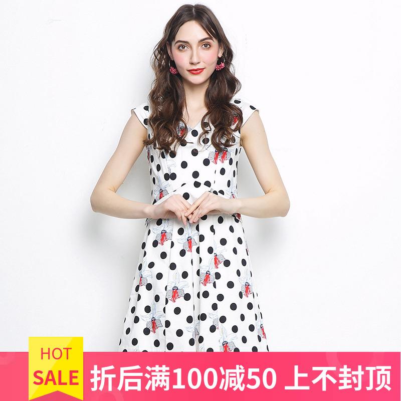 高端女装品牌折扣 XI系列 夏装新款撤柜正品 修身圆点印花连衣裙