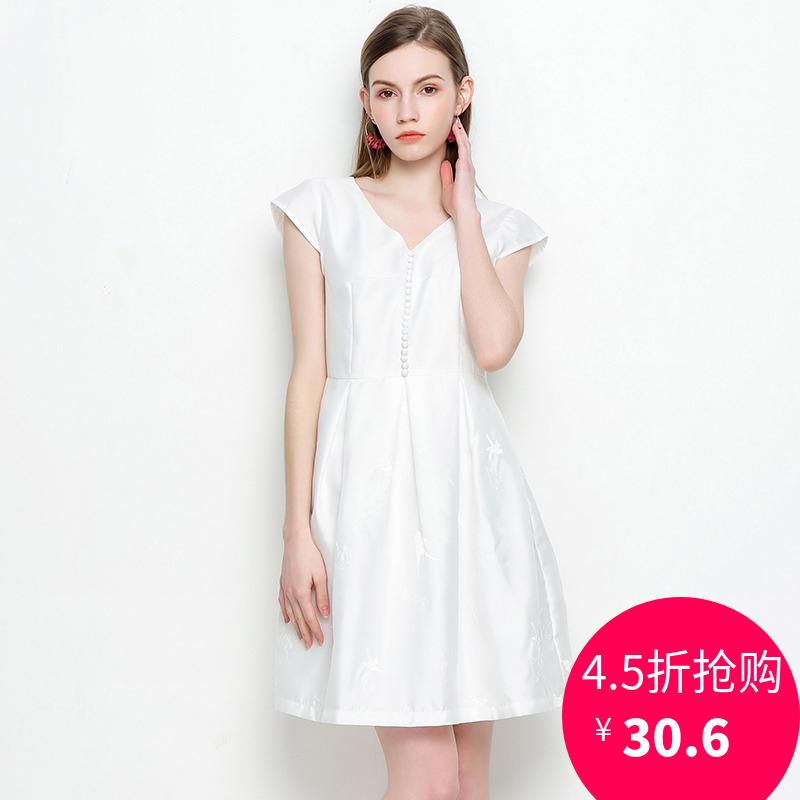 杭派轻熟女装品牌折扣 ZG夏装新款专柜正品 修身V领简约连衣裙