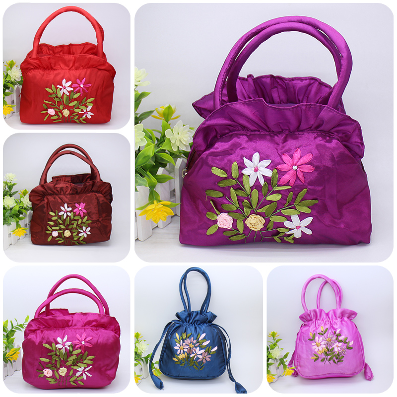 Zero wallet womens bag embroidery hand carry small bag middle aged mother buy vegetable bag Silk Mini grandma old age bag