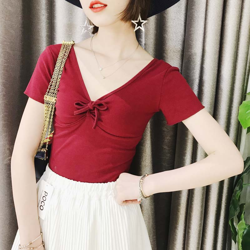泰国旅游度假简单V领半袖绑带性感T恤短款纯色修身Chic交叉女上衣