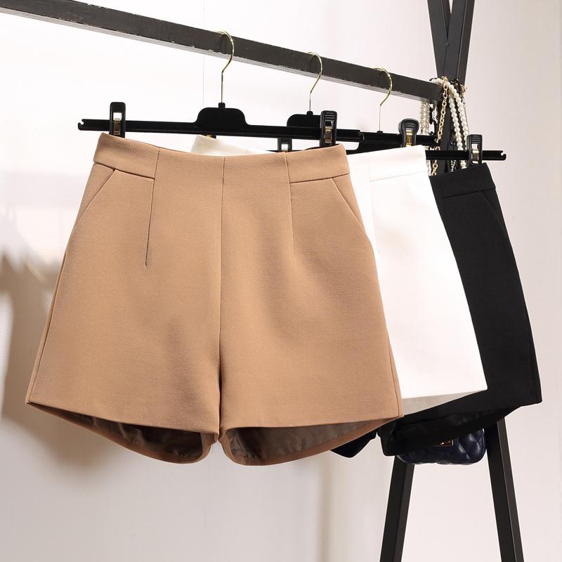 2017 new spring and summer solid high waist versatile pocket wide leg pants pants women wear A-line casual pants