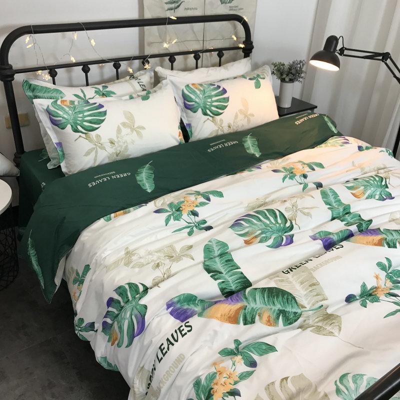 歐美田園芭蕉葉四件套 北歐簡約1.8床雙人床單被套1.2學生單床品