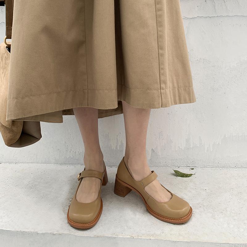 全皮~ 复古中跟粗跟玛丽珍鞋小皮鞋洛丽塔大头鞋一字扣高跟单鞋女