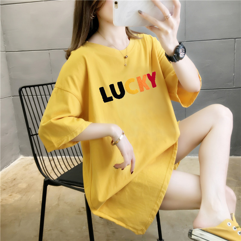 Package post combed cotton 2020 new large womens clothing loose summer dress Korean version medium long short sleeve women