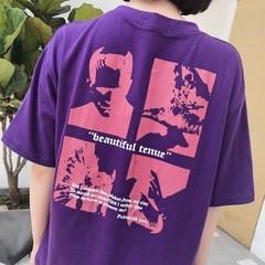1062#有视频/6535韩国ulzzang原宿BF风复古紫色撞色字母短袖T恤女