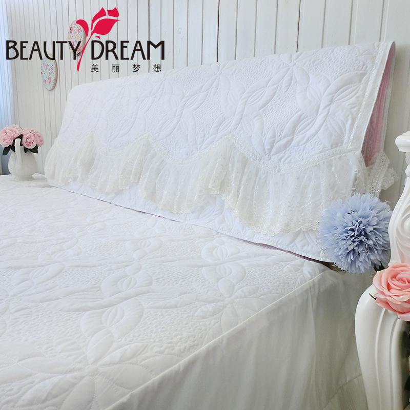BeautyDream 磨毛粉色絎繡加厚床頭套 精致弧形蕾絲公主床頭罩