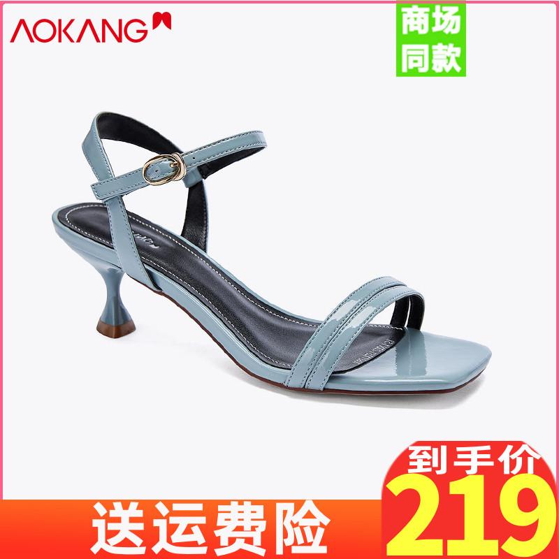 奥康凉鞋女一字带高跟鞋露趾细跟中跟韩版时尚百搭2020新款女鞋夏图片