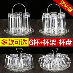 玻璃杯家用杯子水杯套装客厅带把啤酒杯无盖耐热泡茶喝水茶杯6只图片