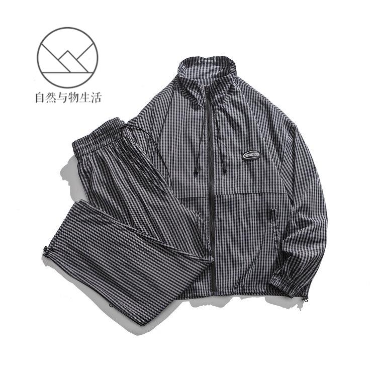 Nature and goods 2021 autumn new mens jacket pants Japanese fashion brand loose sports lattice leisure suit