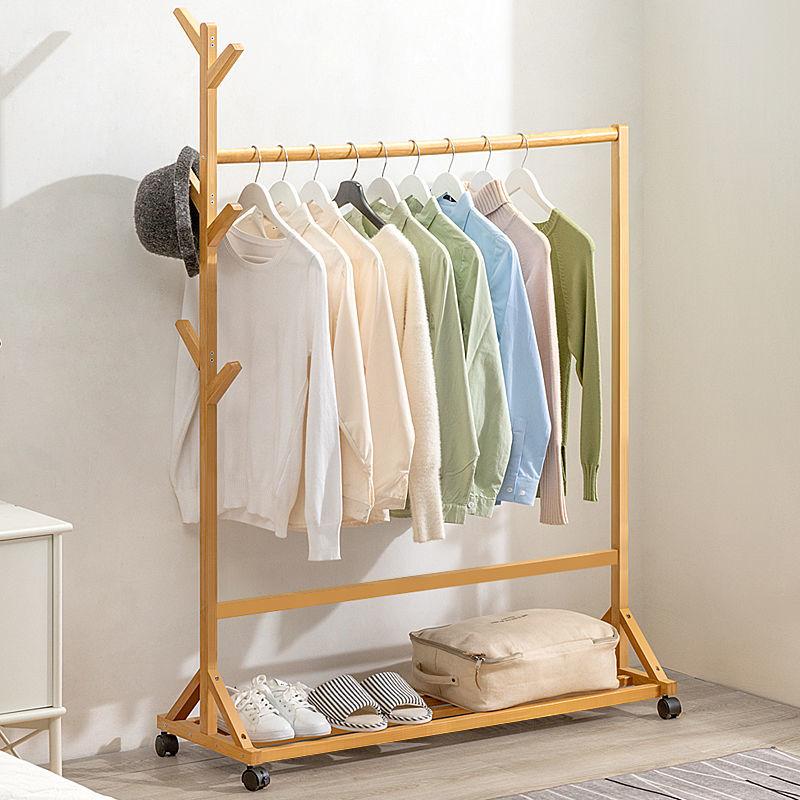 衣帽架落地挂衣架晾衣折叠室内实木简易卧室家用衣服置物柜子简约