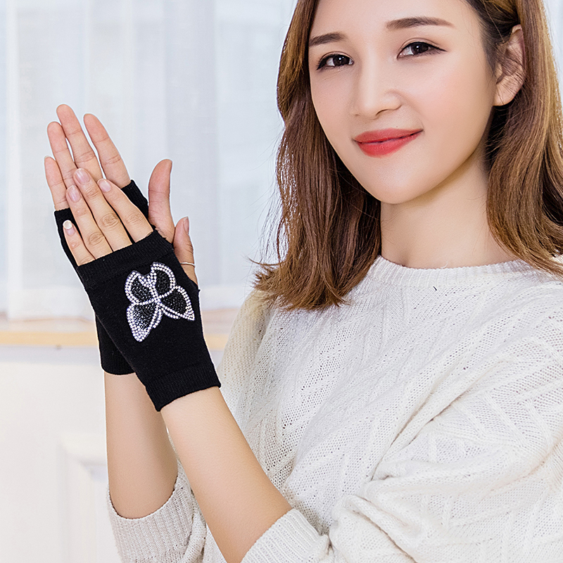 Autumn and winter Fingerless Half Finger exposed thin knitting and hot drilling half lovely students writing and dancing warm female short gloves
