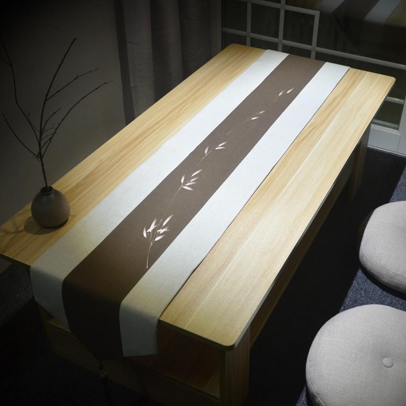 茶席麻布禅意布艺茶巾茶旗棉麻茶桌布中国风现代简约新中式桌旗0