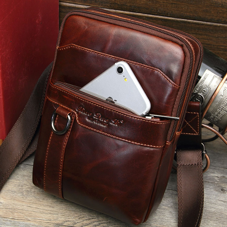 Genuine Leather Mens messenger bag Vintage cow leather chest bag multi-function small bag 8 inch flat Mini Shoulder Bag mens backpack