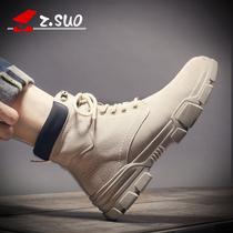 加绒棉鞋2018马丁靴男潮鞋男鞋冬季中帮英伦风雪地靴子鞋子高帮鞋