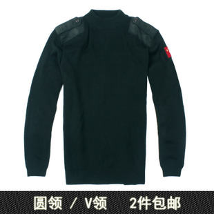 OMB Army Green 07 Army fans sleeved sweater sweater Jixin Ling V neck sweater sweater Chinese flag