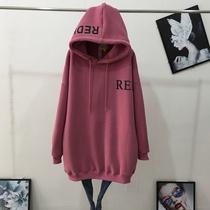 冬季大码加厚加绒卫衣女长袖韩版宽松中长款印花保暖显瘦连帽外套