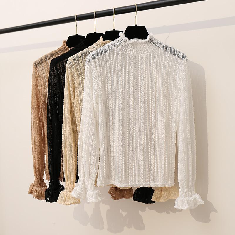 冬季新款韩版纯色套头半高领蕾丝衫女装喇叭袖内搭薄款打底衫上衣