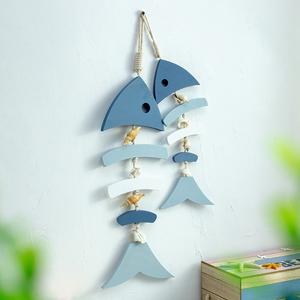 地中海风格木质蓝白鱼串挂件海洋风家居装饰品蓝白小鱼墙壁饰挂饰