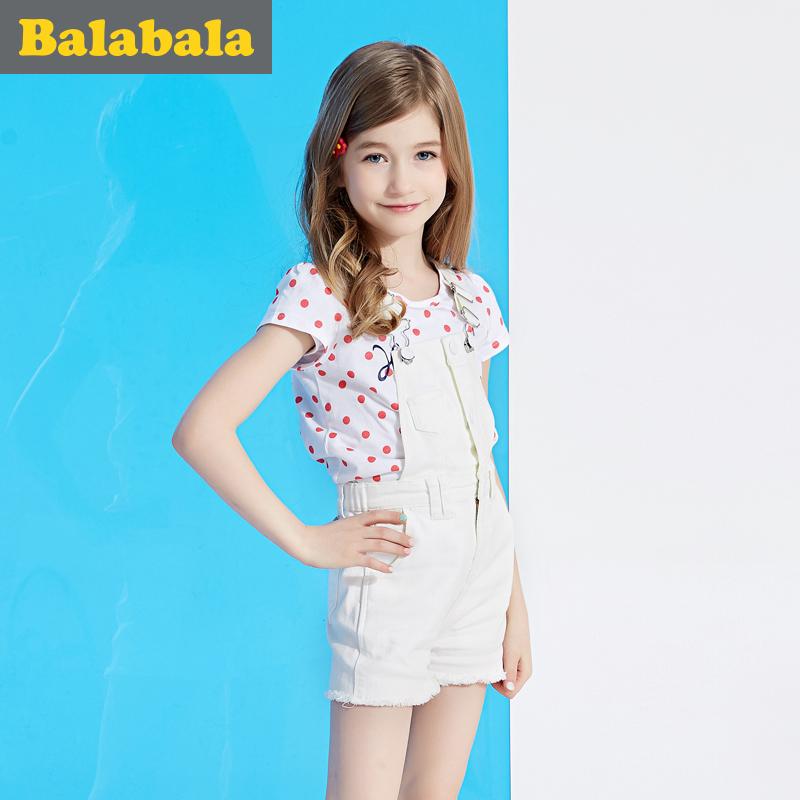 巴拉巴拉兒童牛仔白色夏裝