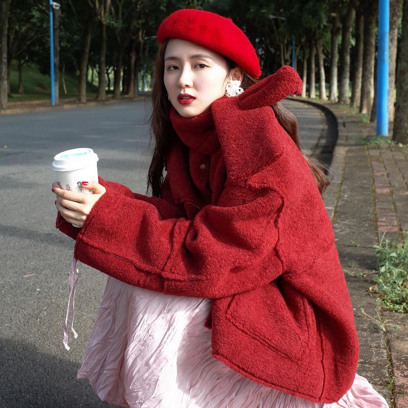 七月伊萨尔 红色羊羔毛外套女短款皮绒韩版chic棉衣外套2018新款