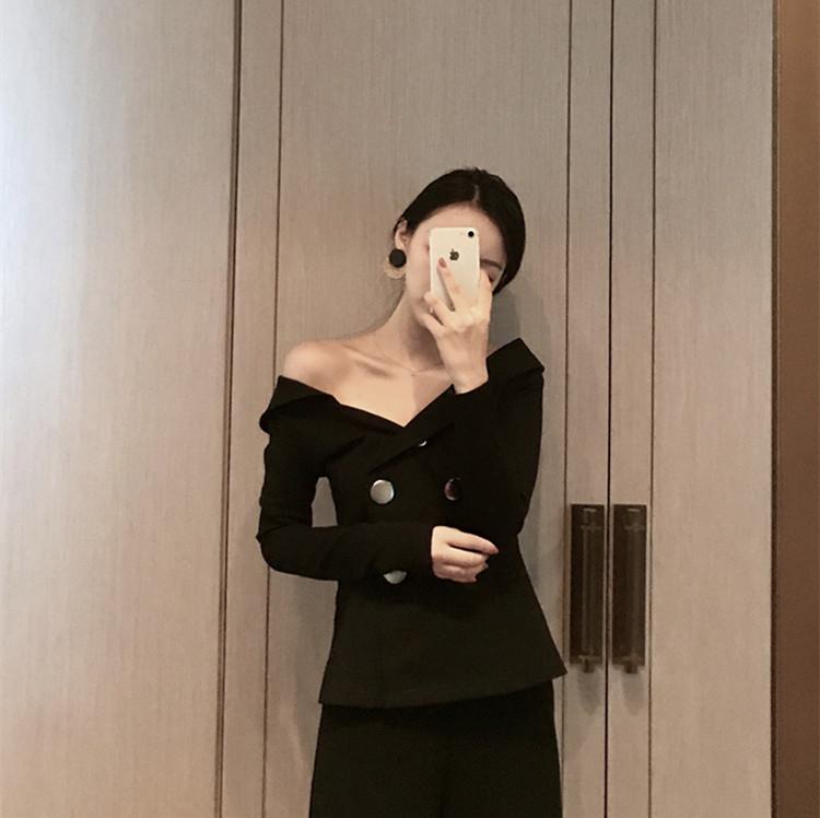 新品 露肩V领修身收腰复古英伦双排扣女韩国百搭小西装短外套