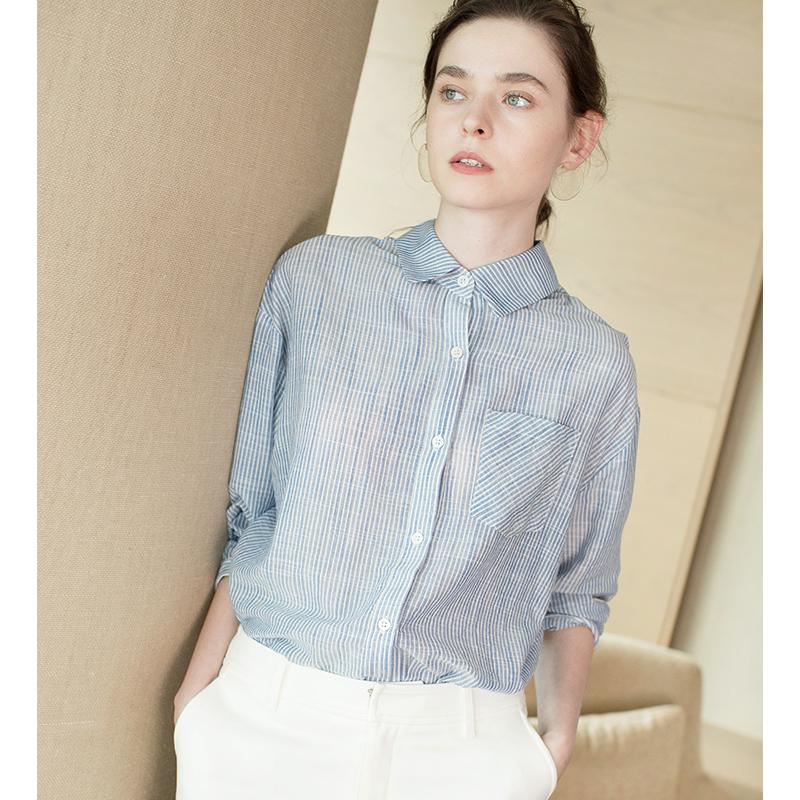 化繁为简休闲立领纯棉蓝白竖条纹衬衫女士长袖衬衣女夏2018新款