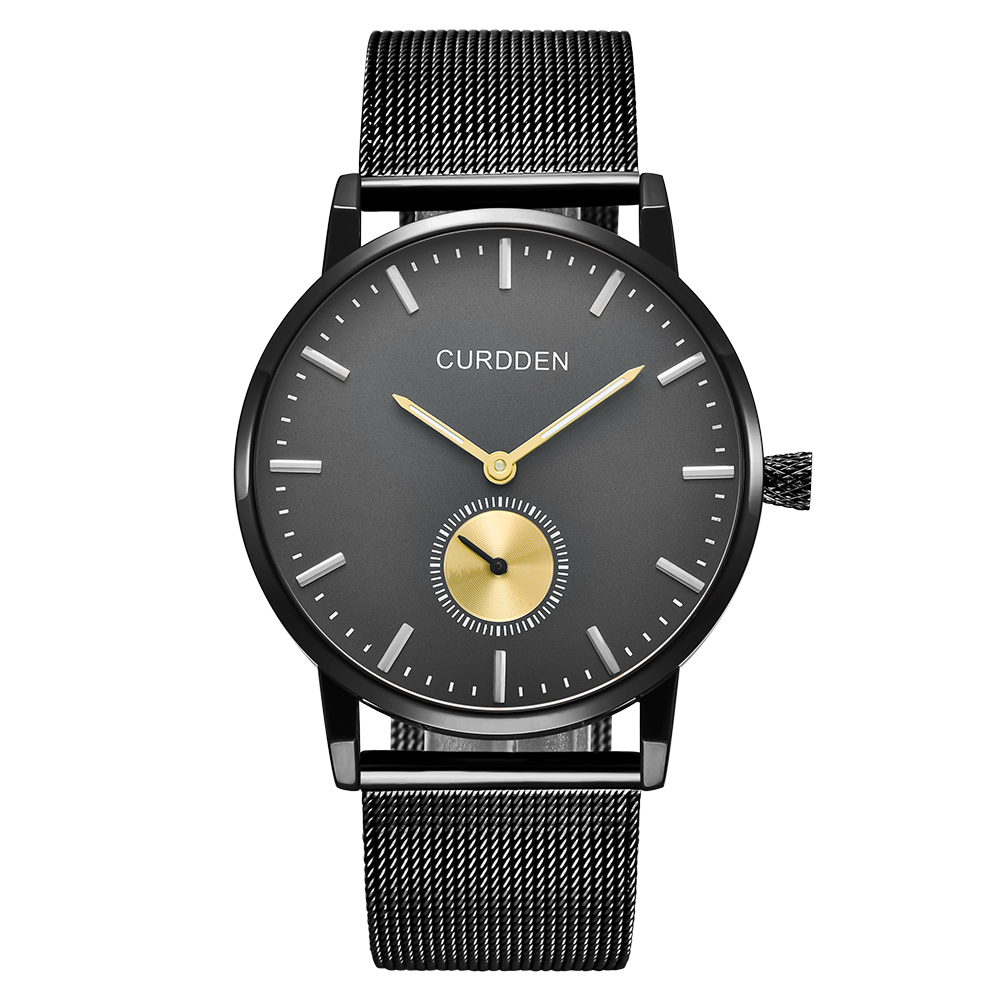 Curdden authentic Nordic style minimalist metal Milan watch band ultra thin stainless steel quartz Casual watch for men
