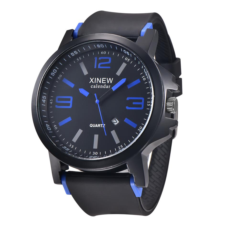 外贸5厘米大表盘运动风格男表硅胶带石英日历手表