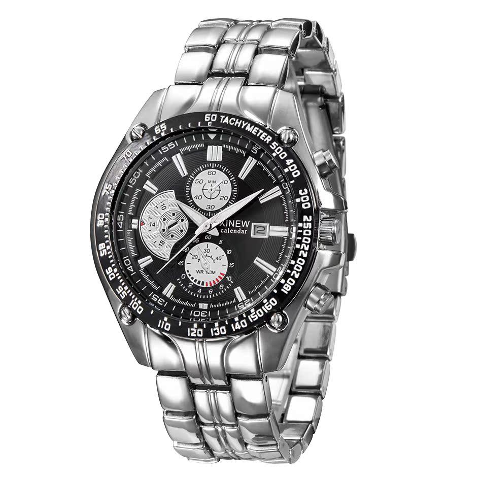 Genuine xinew luxury stainless steel strap room gold three eye mens watch foreign trade business calendar quartz watch
