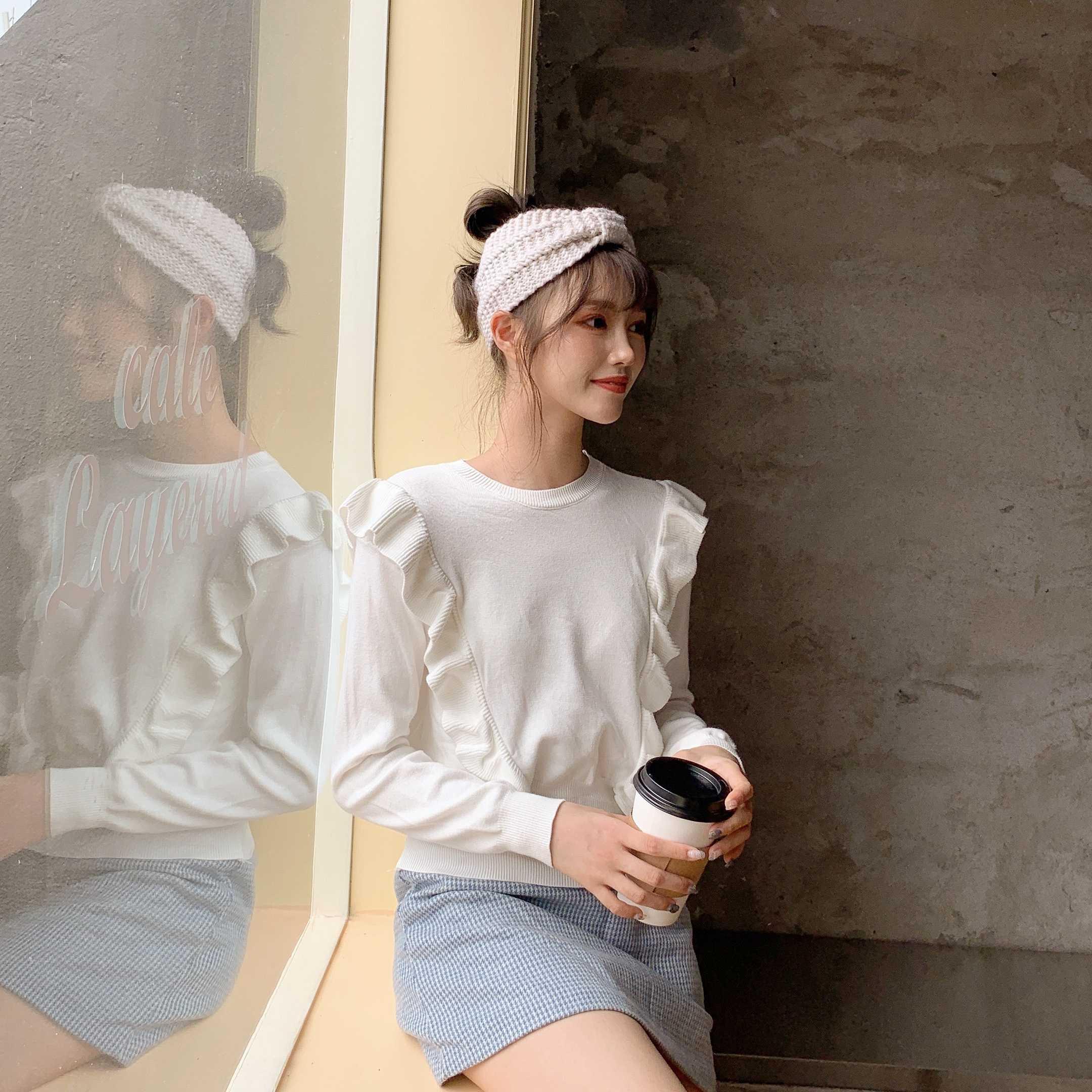 實拍控價36~韓版荷葉邊套頭針織衫短款寬松外穿收腰毛衣6231#