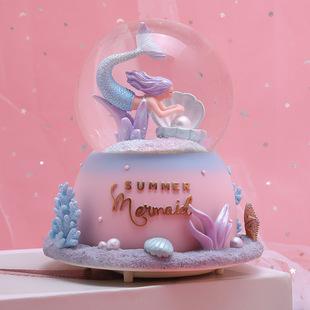 梦幻水晶球旋转音乐盒八音盒飘雪女孩儿童节美人鱼公主女生日礼物