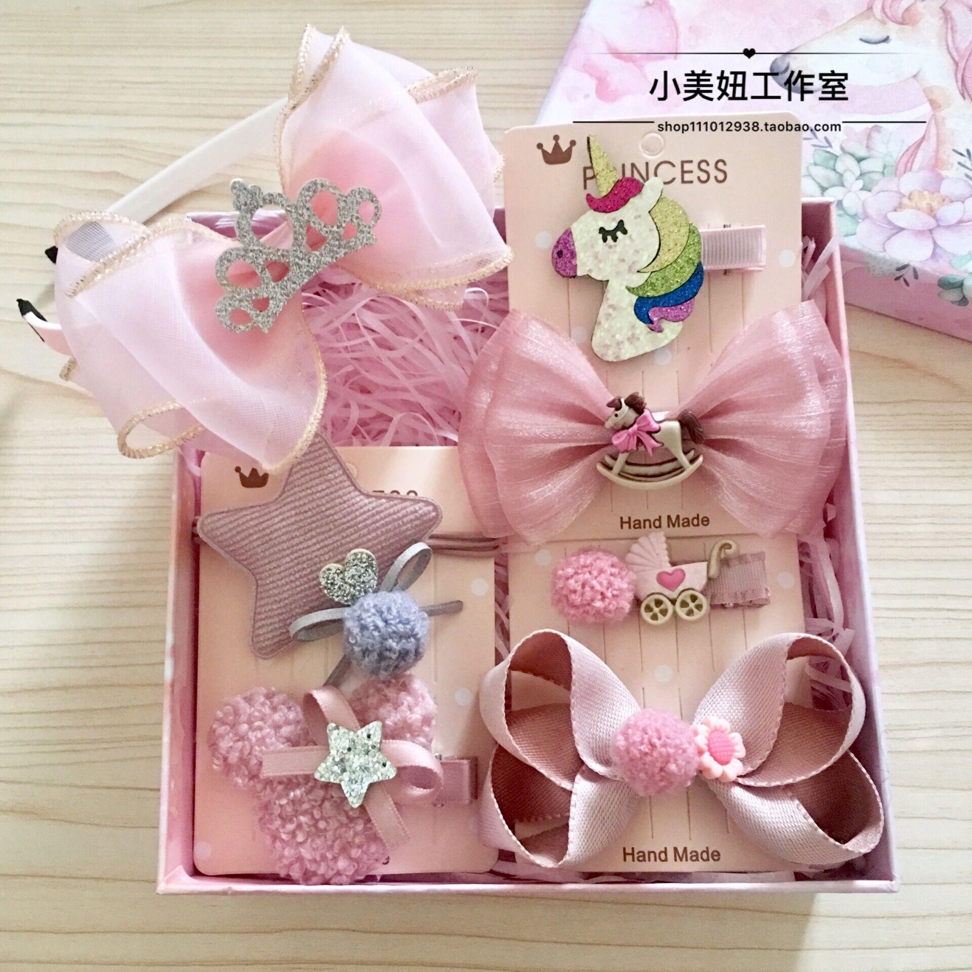 韩国儿童发饰套装礼盒发箍小女孩学生布艺蝴蝶结女童宝宝发夹包邮