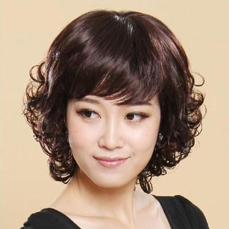 假发女短发蓬松自然短卷发女中老年女士假发全头套式气质妈妈真发