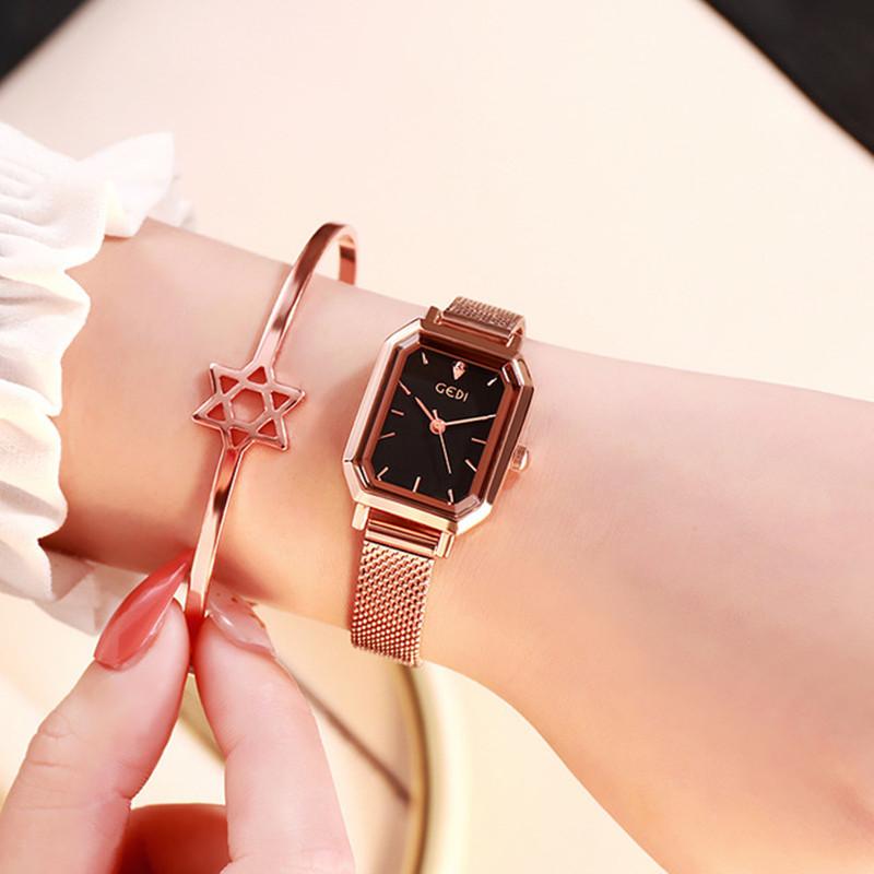 Hong Kong Fashion Gedi waterproof watch womens sky star water diamond watch square Bracelet Watch Diamond British Watch